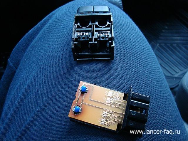 Замена ламп кнопок ПТФ, регулировки подсветки и корректора Mitsubishi Lancer 9 (12)
