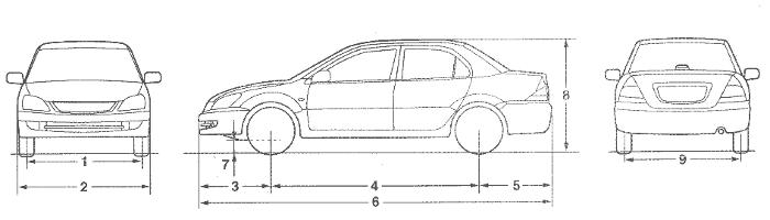 Размеры автомобиля Mitsubishi Lancer IX Седан