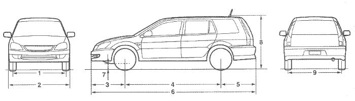 Размеры автомобиля Mitsubishi Lancer IX Универсал