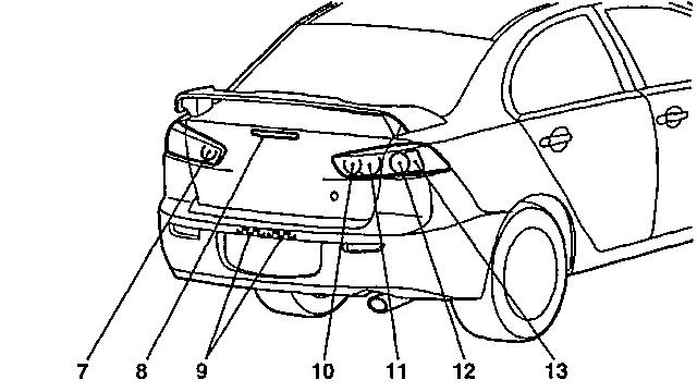 Типы ламп Mitsubishi Lancer X - задняя часть