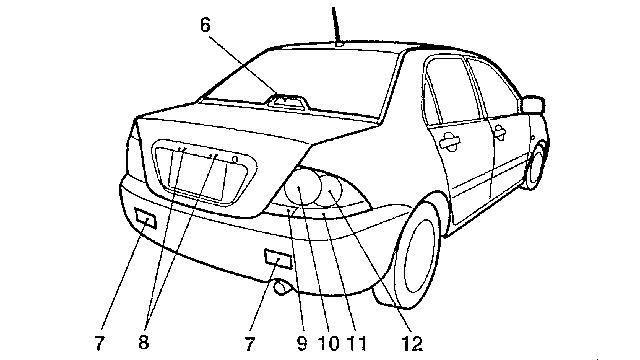Перечень применяемых ламп Lancer 9 (Седан)