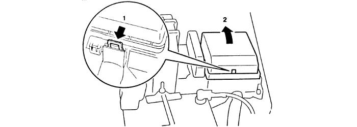 Расположение предохранительного под капотом Lancer IX